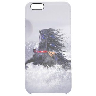 Black Blue Majestic Stallion Indian Horse in Snow Clear iPhone 6 Plus Case