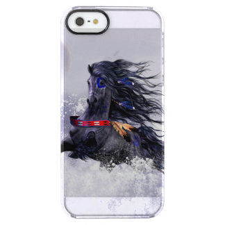 Black Blue Majestic Stallion Indian Horse in Snow Clear iPhone SE/5/5s Case
