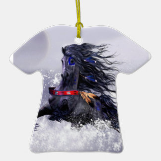 Black Blue Majestic Stallion Indian Horse in Snow Double-Sided T-Shirt Ceramic Christmas Ornament