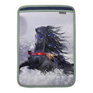 Black Blue Majestic Stallion Indian Horse in Snow MacBook Air Sleeves