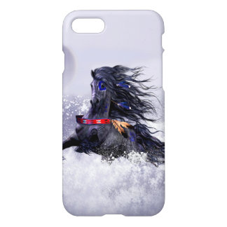 Black Blue Majestic Stallion Indian Horse in Snow iPhone 7 Case