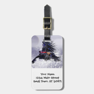 Black Blue Majestic Stallion Indian Horse in Snow Luggage Tag