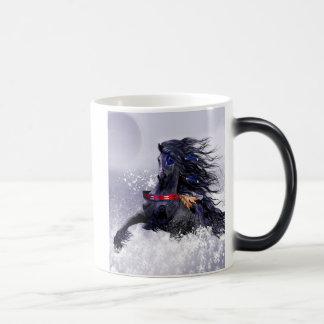 Black Blue Majestic Stallion Indian Horse in Snow 11 Oz Magic Heat Color-Changing Coffee Mug
