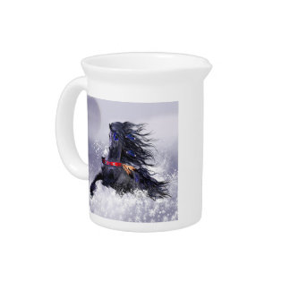 Black Blue Majestic Stallion Indian Horse in Snow Pitchers