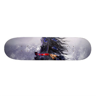 Black Blue Majestic Stallion Indian Horse in Snow Skateboard
