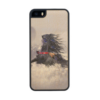 Black Blue Majestic Stallion Indian Horse in Snow Carved® Maple iPhone 5 Slim Case