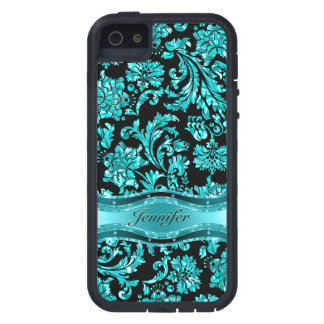 Black & Blue Metallic Floral Damasks-Customized Cover For iPhone 5