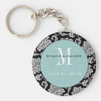 Black Blue Monogram Wedding Keychain