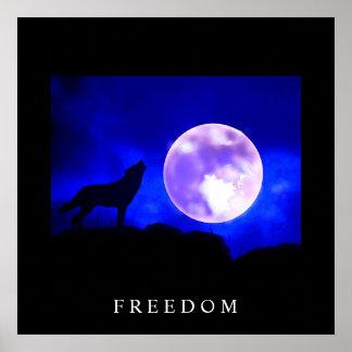 Black Blue Motivational Freedom Wolf Poster