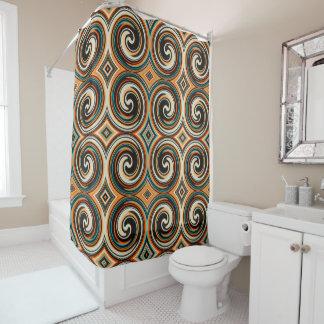 Black Blue Orange Abstract Swirl Pattern Shower Curtain