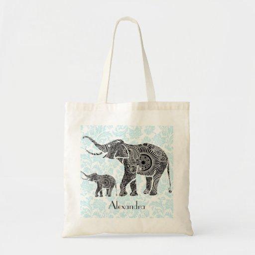 Black & Blue Ornate Swirls Elephant -Custom Tex Canvas Bag