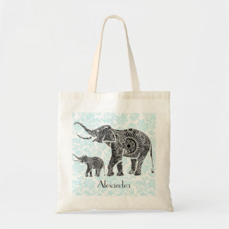 Black & Blue Ornate Swirls Elephant -Custom Tex Budget Tote Bag