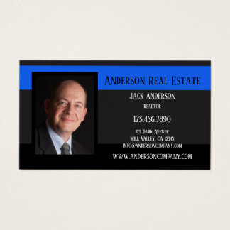 Black Blue Photo Professional Business Card