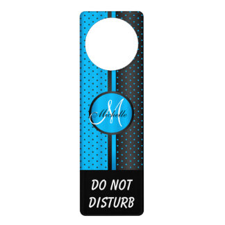 Black & Blue Polka Dots | Do Not Disturb Sign