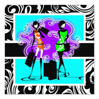"Black blue purple birthday girls 5.25"" square invitation card"
