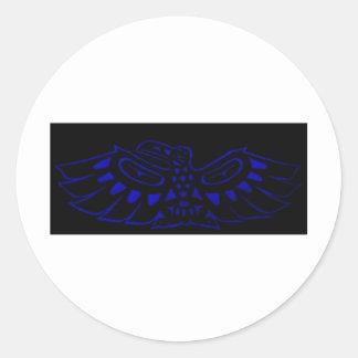 Black Blue Raven Classic Round Sticker