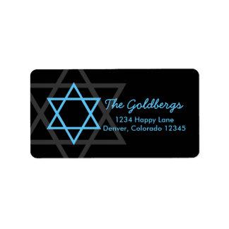 Black Blue Star of David Return Address Address Label