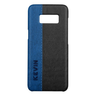 Black & Blue Stitched Vintage Faux Leather Case-Mate Samsung Galaxy S8 Case