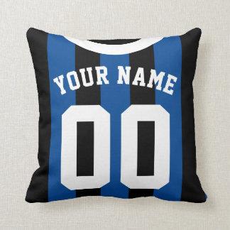 Black & Blue Striped Sports Jersey Template Pillow