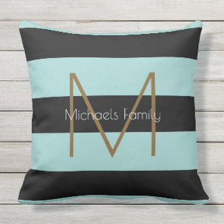 black & blue striped & stylish personalized family outdoor cushion