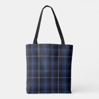 Black Blue Tartan Plaid Tote Bag
