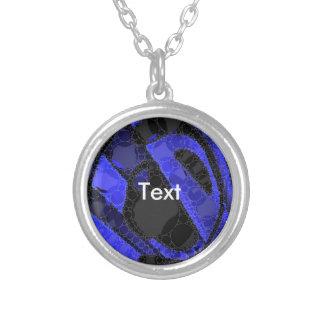 Black Blue Unique Abstract Round Pendant Necklace