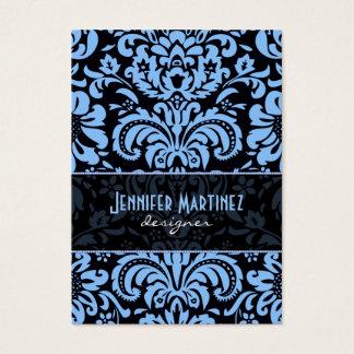 Black  Blue Vintage Floral Damasks Business Card