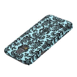 Black & Blue Vintage Floral Damasks Pattern Galaxy S5 Case