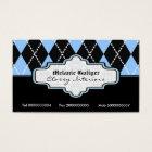 Black blue white argyle trendy business cards