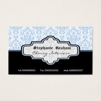 Black blue white damask interiors business card