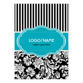 Black Blue & White Floral Damasks 2-Customized Pack Of Chubby Business Cards