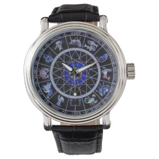 BLACK & BLUE ZODIAC SIGN WRIST WATCH