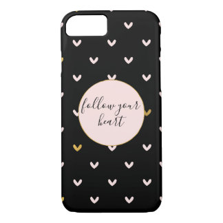 Black Blush Pink Gold Hearts iPhone 8/7 Case