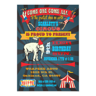 Black Board Birthday Circus Party Invitations