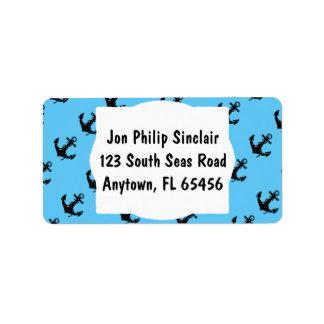 Black Boat Anchor Address Label
