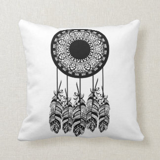Black Bohemian Mandala Dream Catcher Feathers Cushion