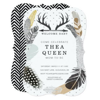 Black Boho Feather Baby Shower Invite