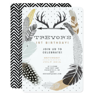 Black Boho Feather Birthday Invitation