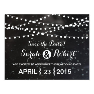 Black Bokeh String of Lights Save the Date Card