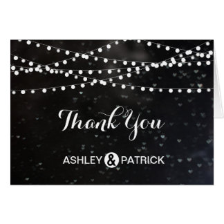 Black Bokeh String of Lights Thank You Note Note Card