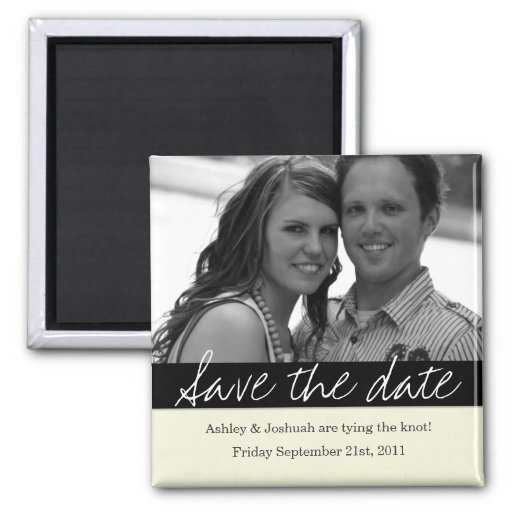 Black Bold Banner Photo Save The Date Magnet