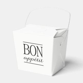 Black BON APPETIT Quote Dinner Typography Text Favour Box