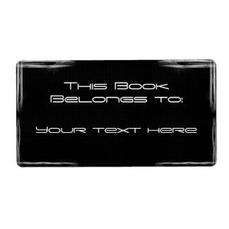 black bookplate shipping label