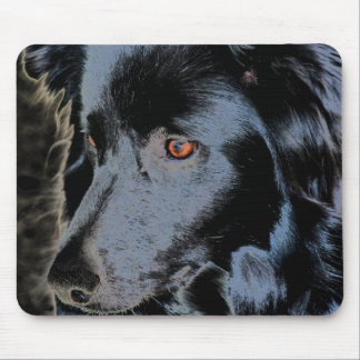 Black Border Collie Face Mousepad