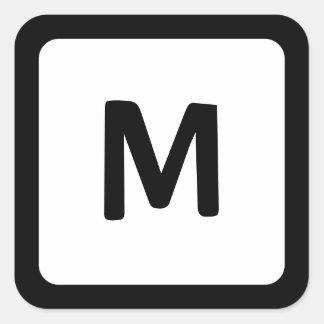 Black Border Rounded Corner Monogram Square Sticker