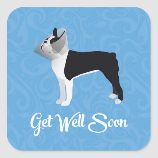 Black Boston Terrier Get Well Soon Funny Dog Square Sticker
