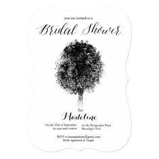 Black Bouquet Bridal Shower Invitation