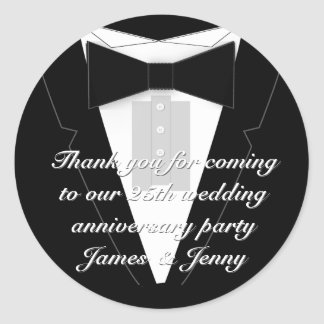Black Bow Tie Tuxedo Classic Round Sticker