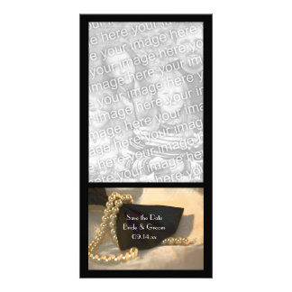 Black Bow Tie White Pearls Wedding Save the Date Custom Photo Card