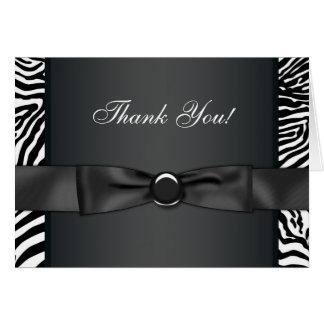 Black Bow Tie Zebra Thank You Cards